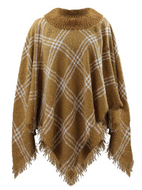 Camel Beige Cowl Neck Womens Pullover Poncho Cape