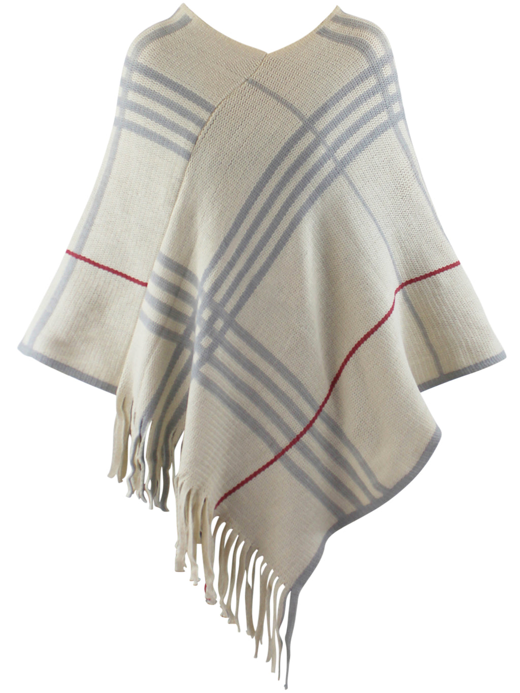 Ivory Plaid Knit Poncho With Fringe