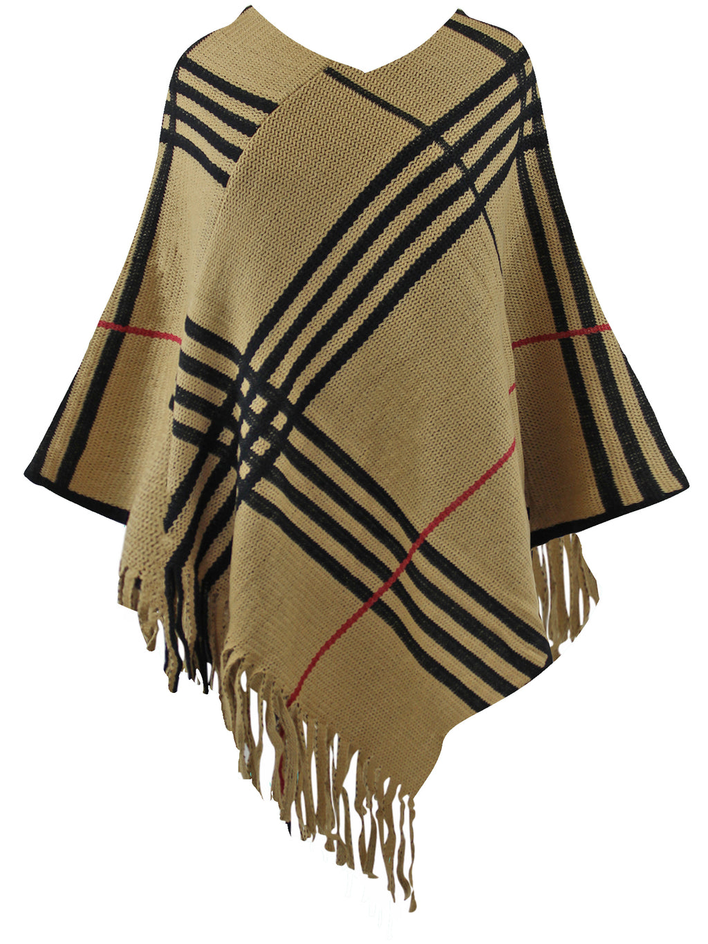 Beige Plaid Knit Poncho With Fringe