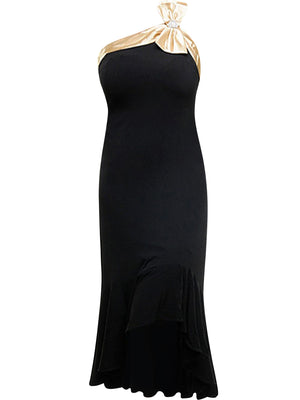 Tea Length Black Cocktail Dress With Champagne Trim & Bow