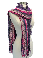 Tricolor Striped Boho Style Scarf