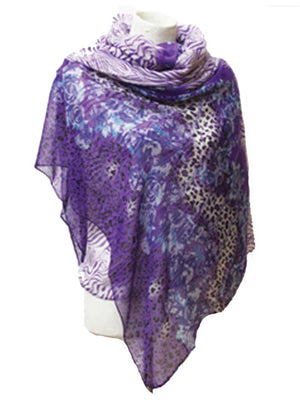 Floral Animal Print Pareo Wrap Shawl