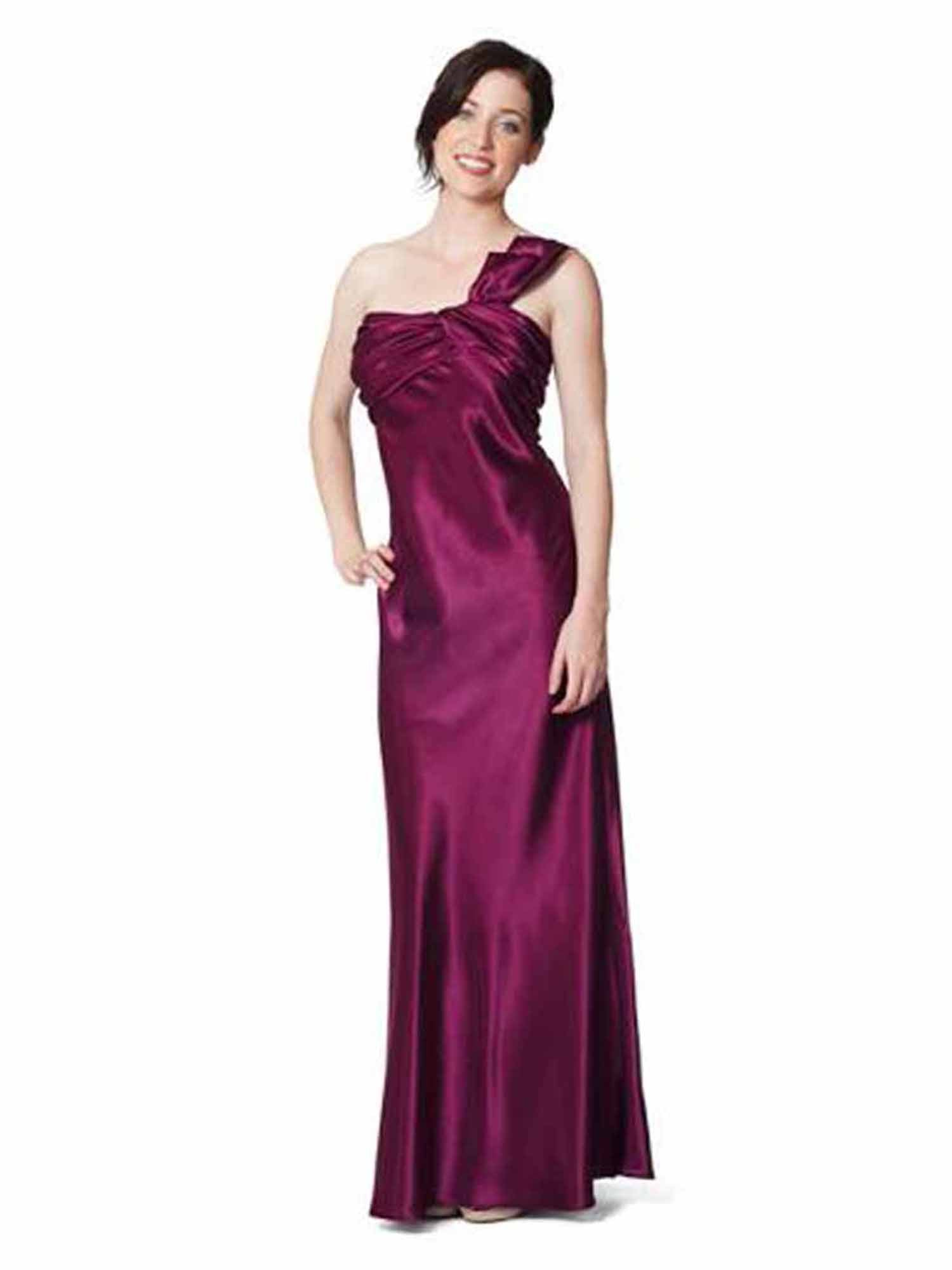 Plum Purple One Shoulder Gown Ruched Detail