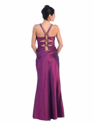 Purple Satin Evening Gown With Rhinestone Top Design