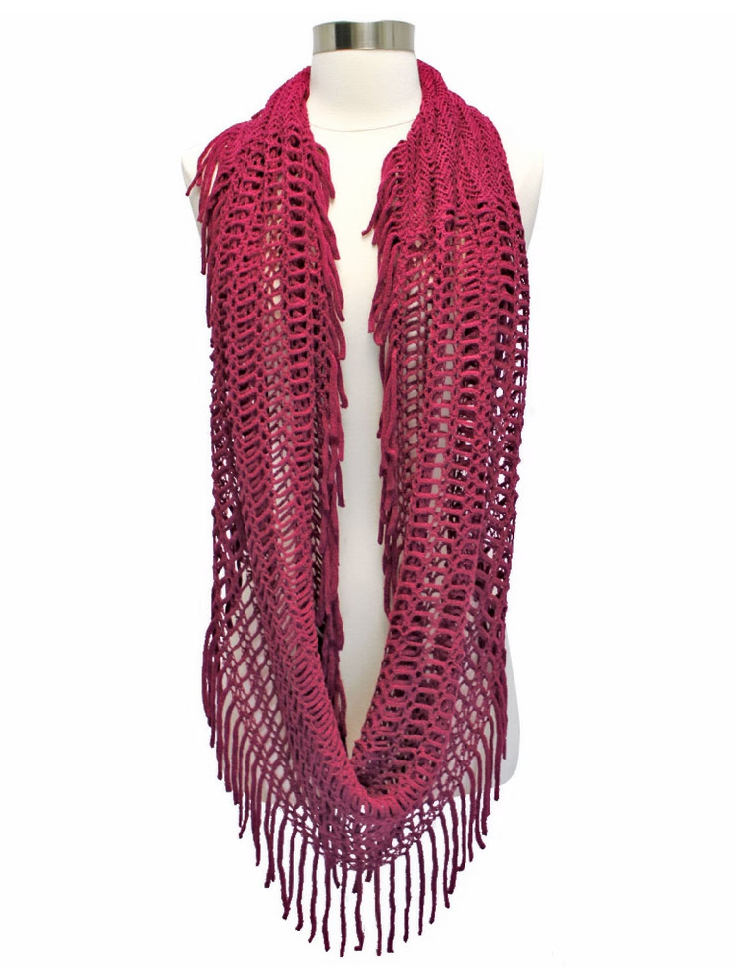 Open Knit Circular Scarf With Fringe