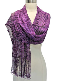 Long Metallic Evening Shawl With Fringe