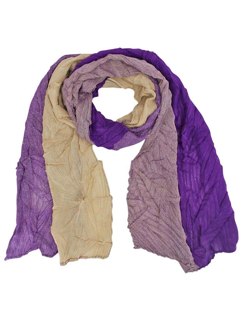Two-Tone Asymmetrical Wrinkled Scarf