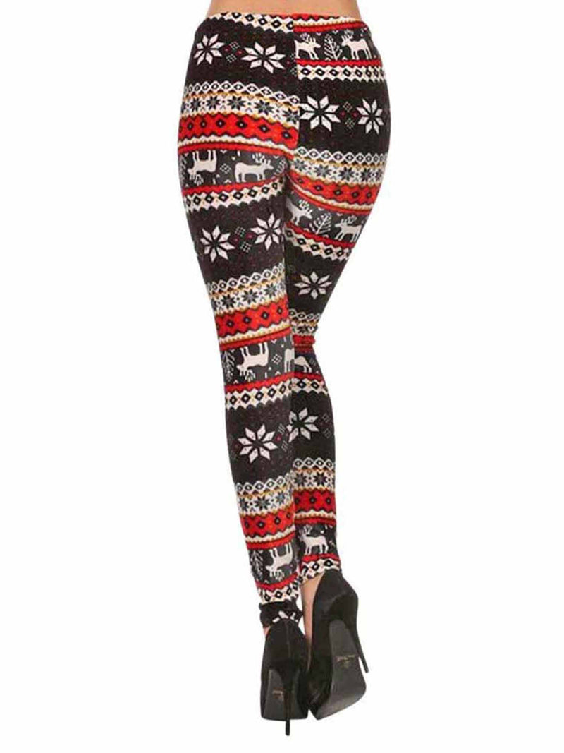 Winter Snowflake & Reindeer Print Velour Leggings