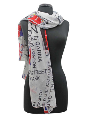 Red Blue & White London Print Lightweight Scarf