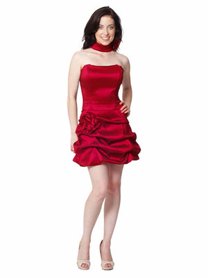 Red Strapless Structured Gathered Bottom Cocktail Dress