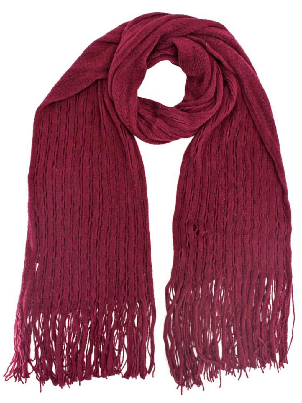 Wispy Fringe Knit Winter Scarf