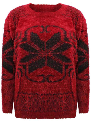 Snowflake Pattern Fuzzy Eyelash Knit Sweater