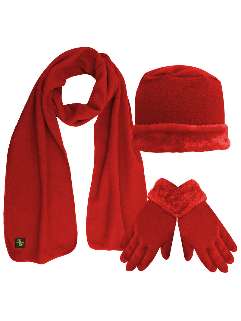 Fleece Hat Scarf & Glove Set With Plush Fur Trim
