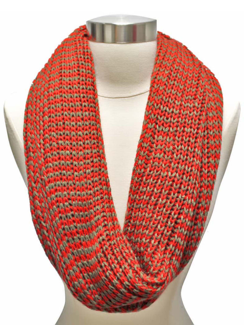 Red Two-Tone Knit Unisex Winter Infinity Scarf