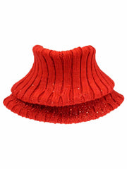 Ribbed Knit Neck Warmer With Rhinestones