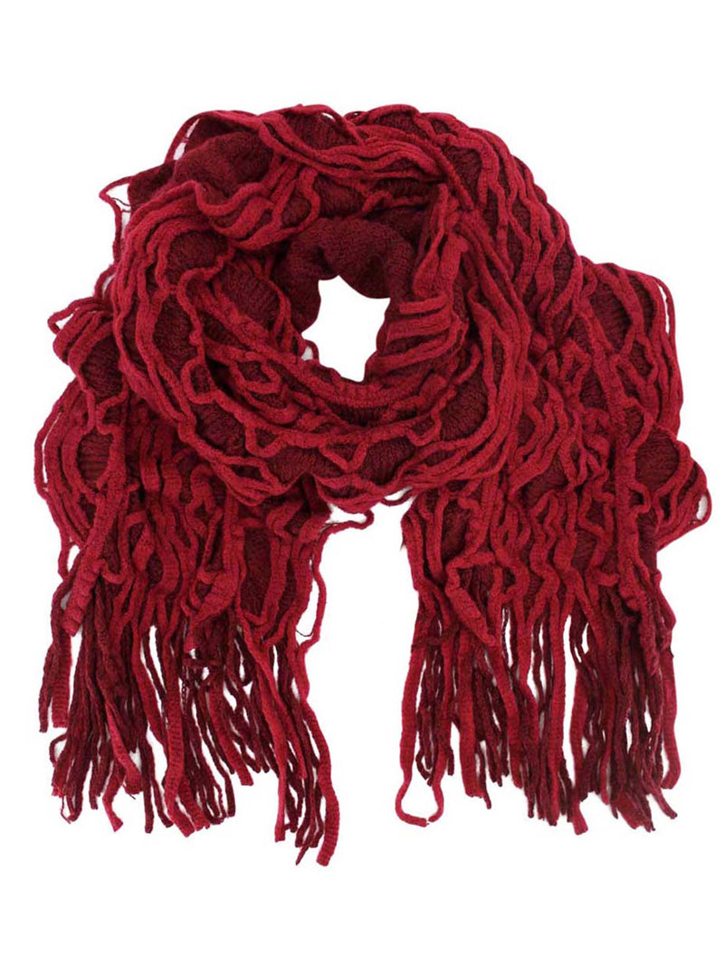 Red Two-Tone Ruffle Layered Knit Scarf