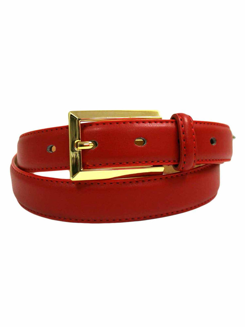 Leather Dress Belt With Gold Buckle