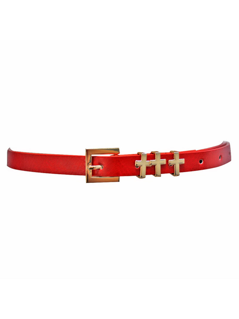 Skinny Dress Belt With Gold Cross Buckle