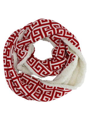 Sherpa Lined Greek Key Winter Infinity Scarf