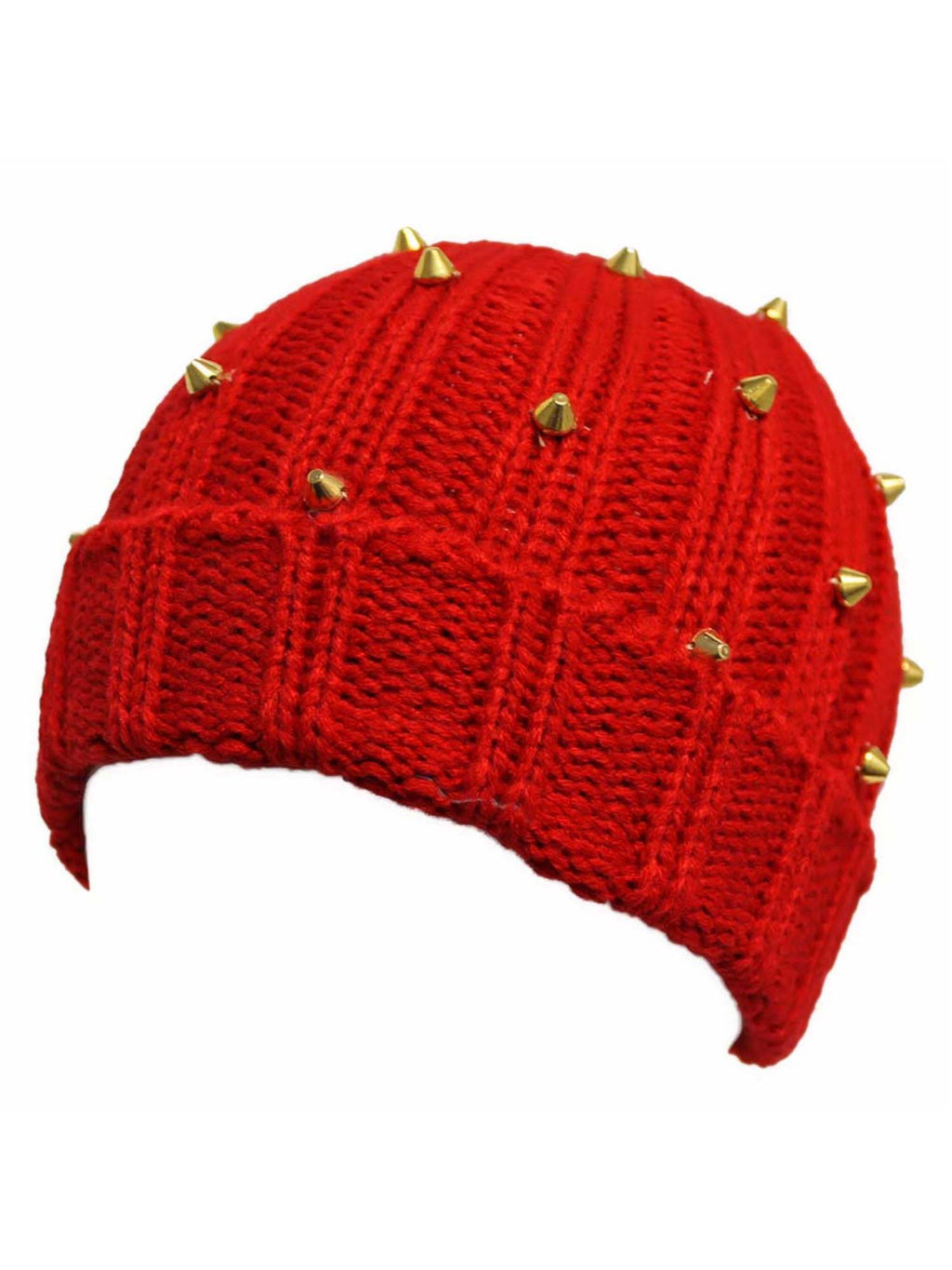 Red Knit Beanie Cap Hat With Gold Spikes