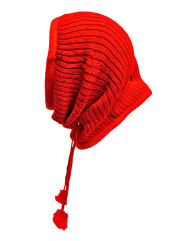 Red Thick Ribbed Knit Fleece Lined Head Cover