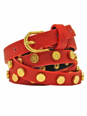 Skinny Gold Tone Studded Belt