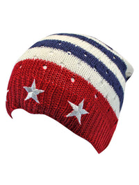 American Flag Red White Blue Beanie Cap Hat