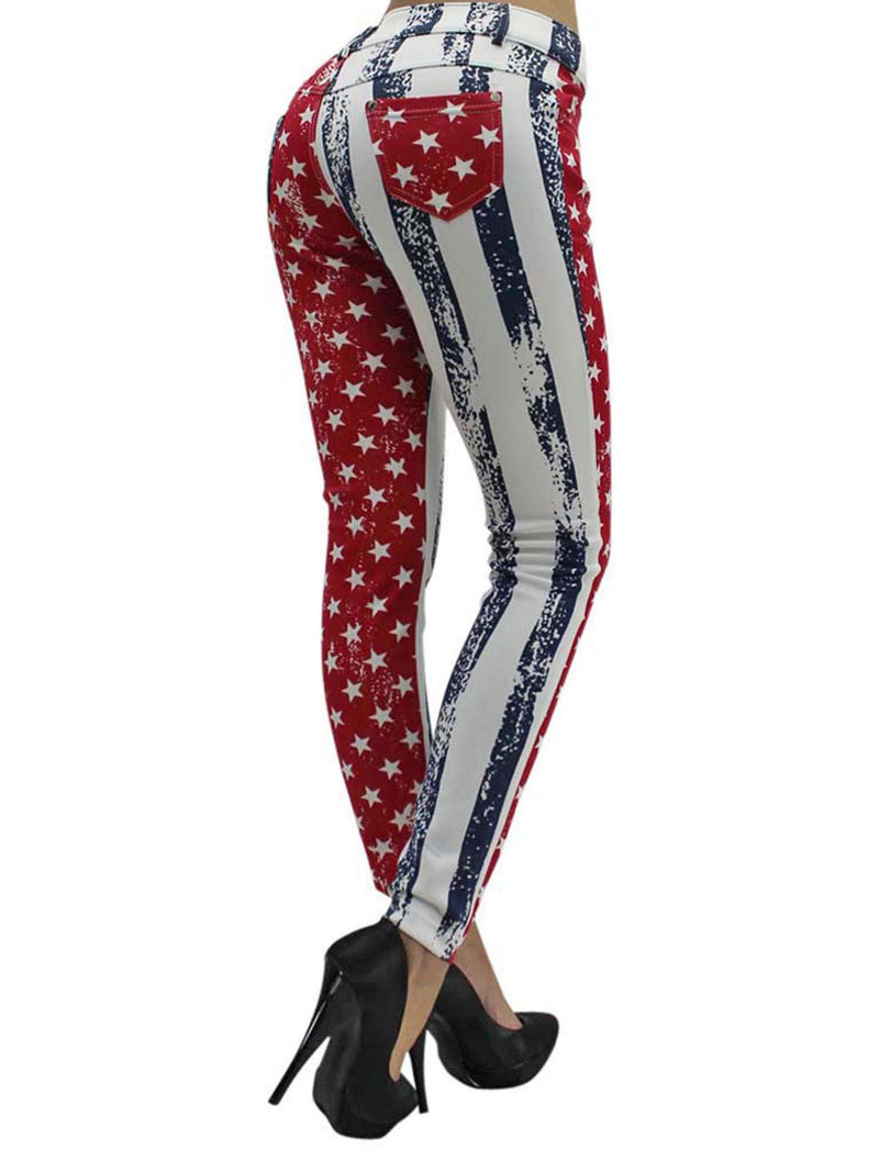 Red White & Blue Vintage Flag Print Jeggings