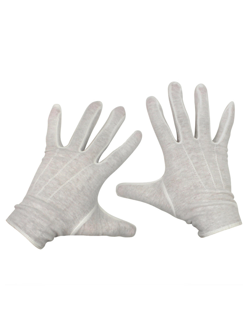 Mens White Stretchy Cotton Gloves With Snap