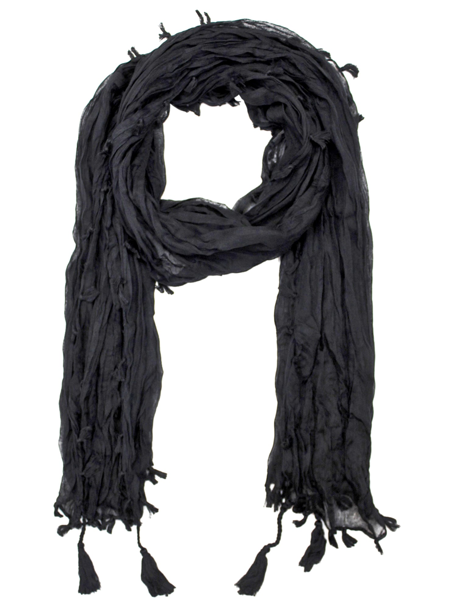 Black Crinkled Tassel Scarf