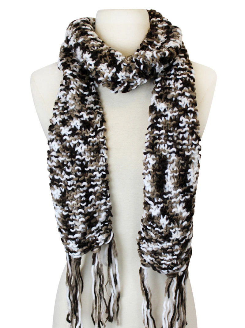 Long Two-Tone Knit Unisex Winter Scarf