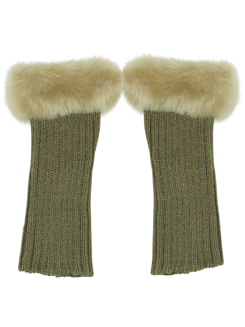 Knit Arm Warmer Gloves With Fur Trim