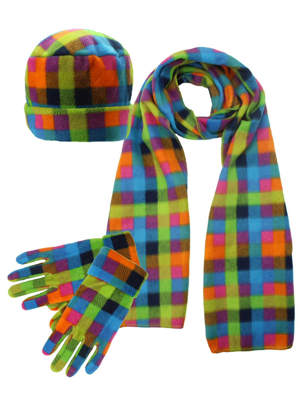 Plaid Fleece 3 Piece Hat Scarf & Glove Set