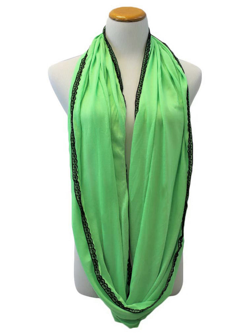 Neon Infinity Scarf With Lace Trim