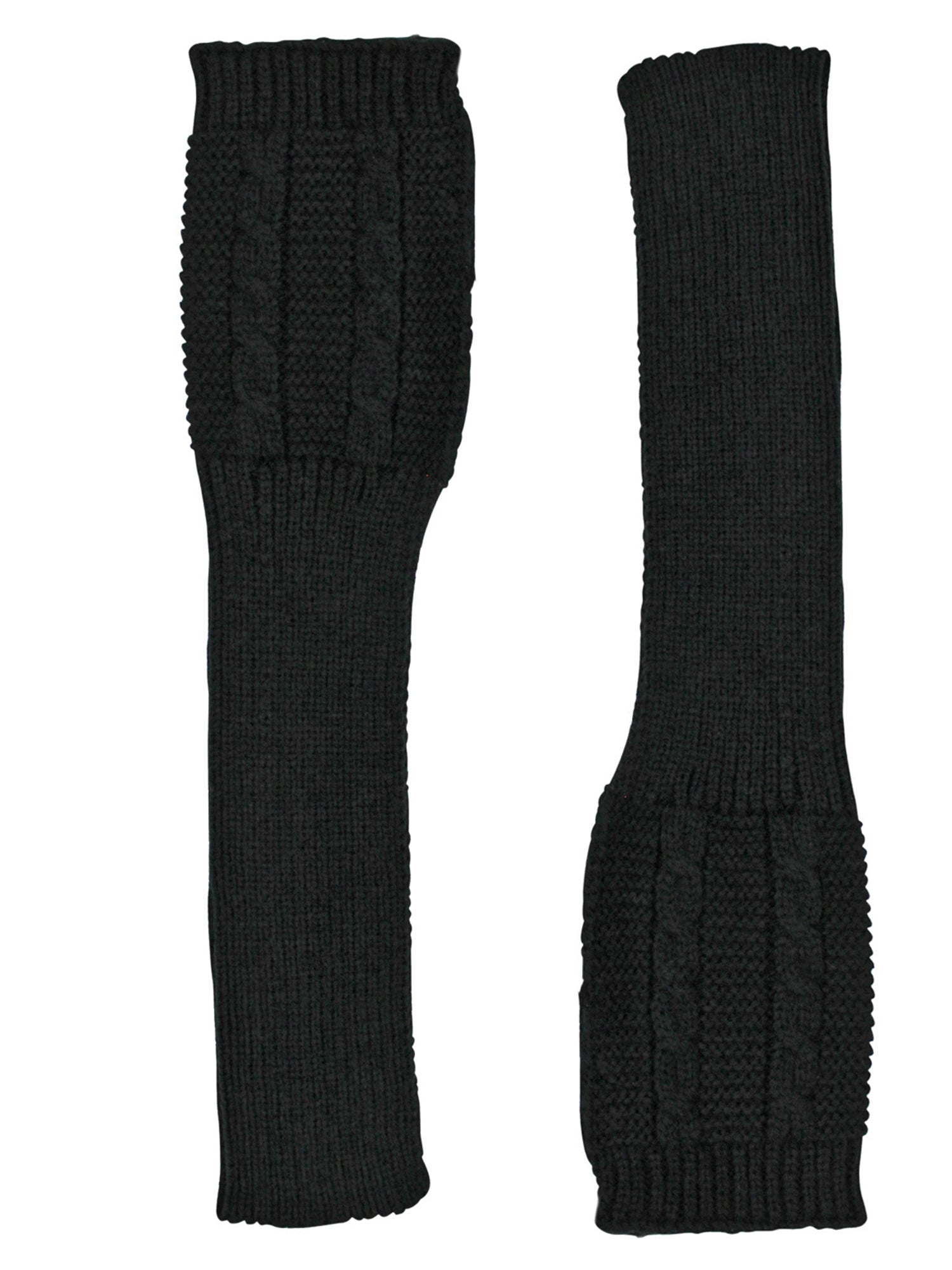 Black Long Cable Knit Fingerless Gloves