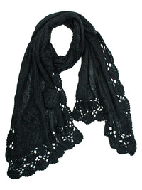 Warm Crochet Knit Winter Scarf With Rosette Trim