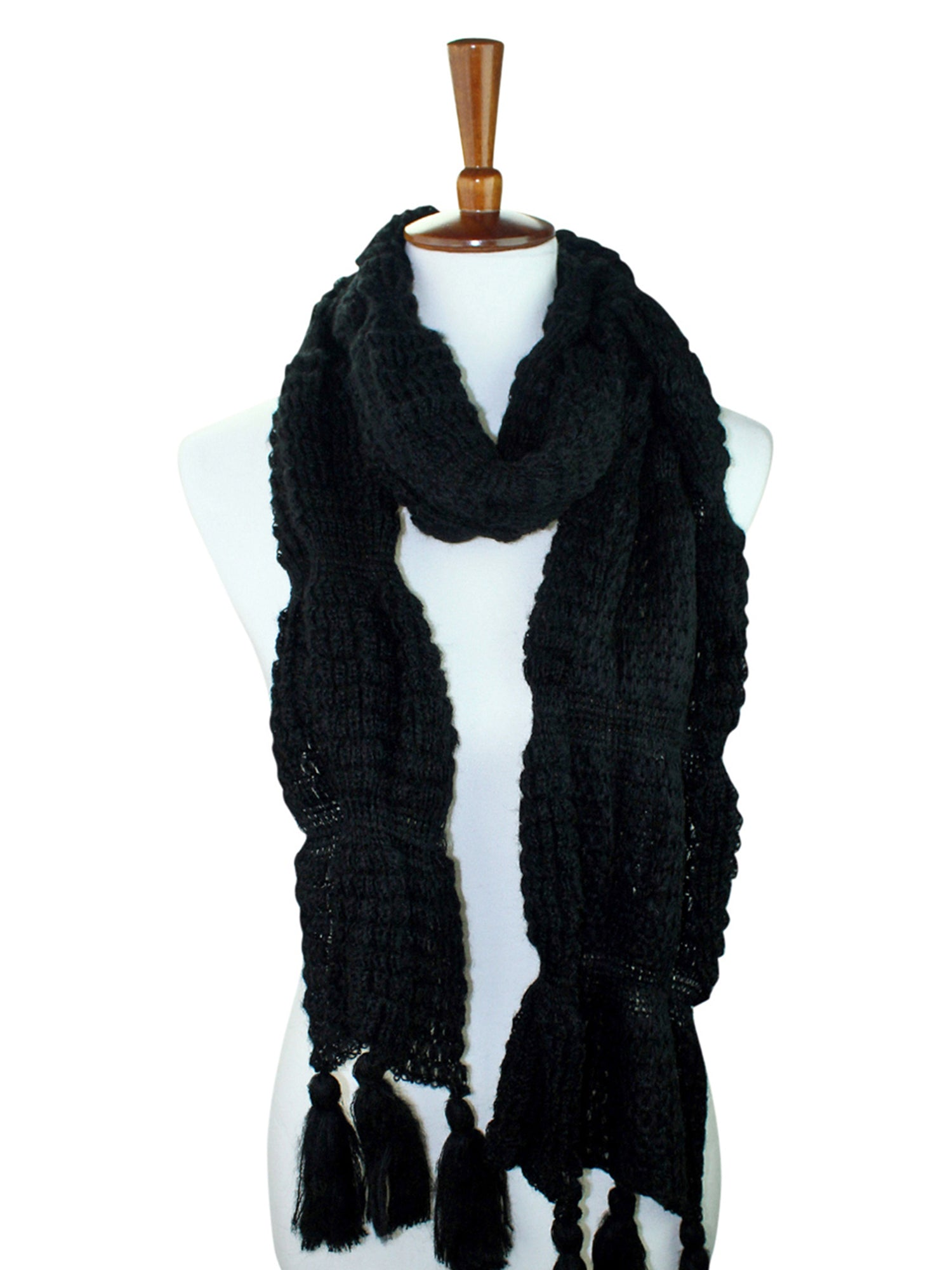 Winter Knit Scarf With Tassels