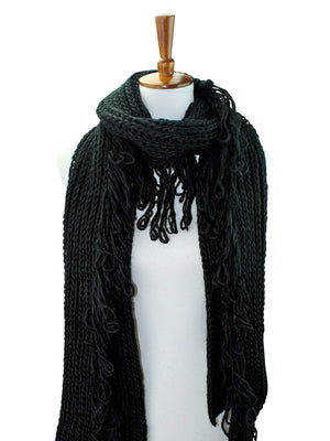 Chunky Winter Knit Scarf With Loop Fringe