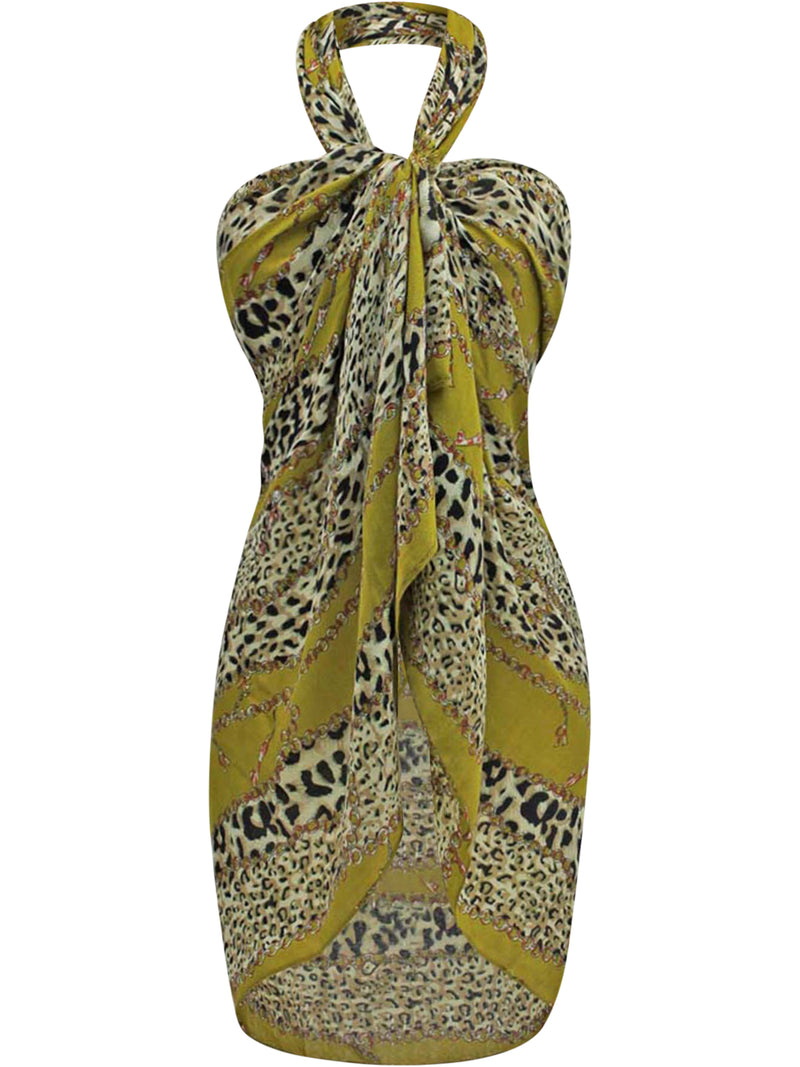 Yellow Green Chain Link Animal Print Scarf