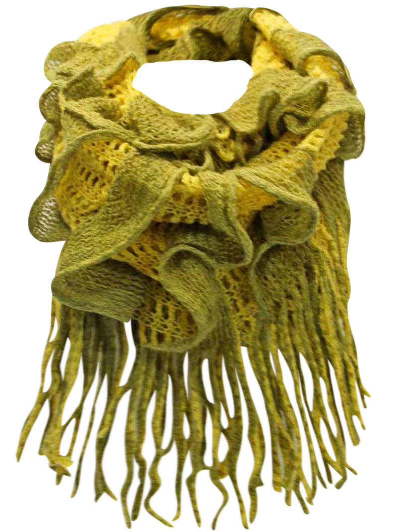Two-Tone Long Fringed Infinity Scarf