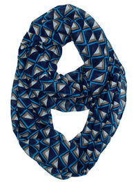 Navy Teal & Beige Chevron Light Circle Scarf