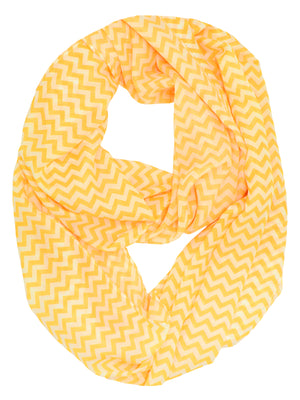 Orange & White Zigzag Chevron Light Loop Scarf