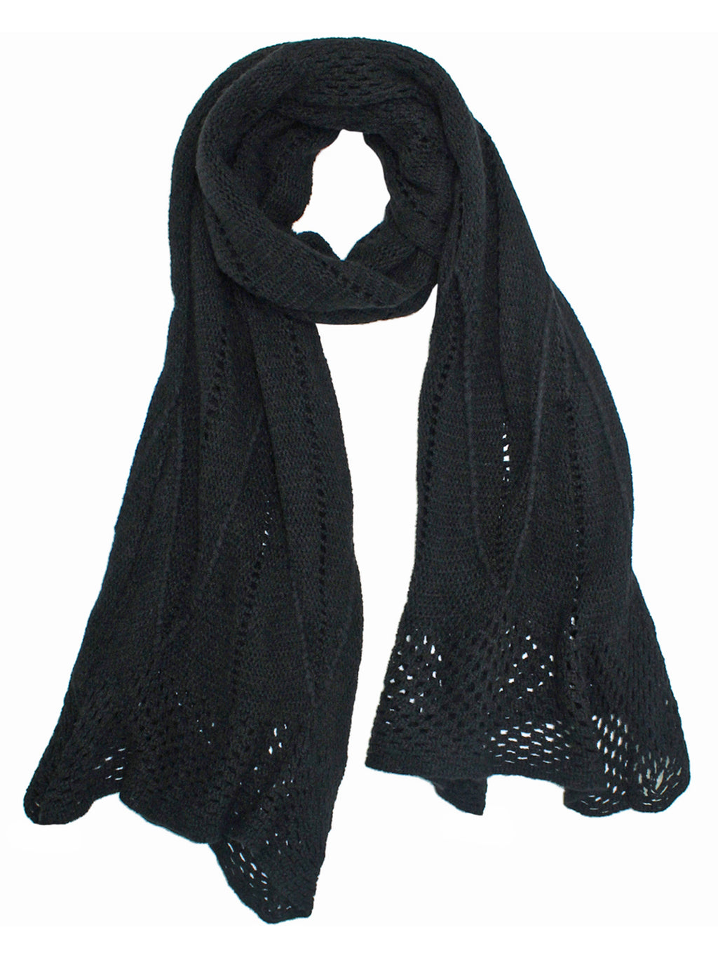 Delicate Crocheted Knit Winter Scarf