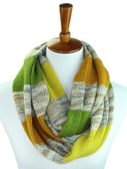 Multicolor Stripe Knit Winter Infinity Scarf