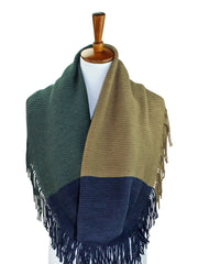 Tricolor Block Winter Knit Infinity Scarf With Fringe