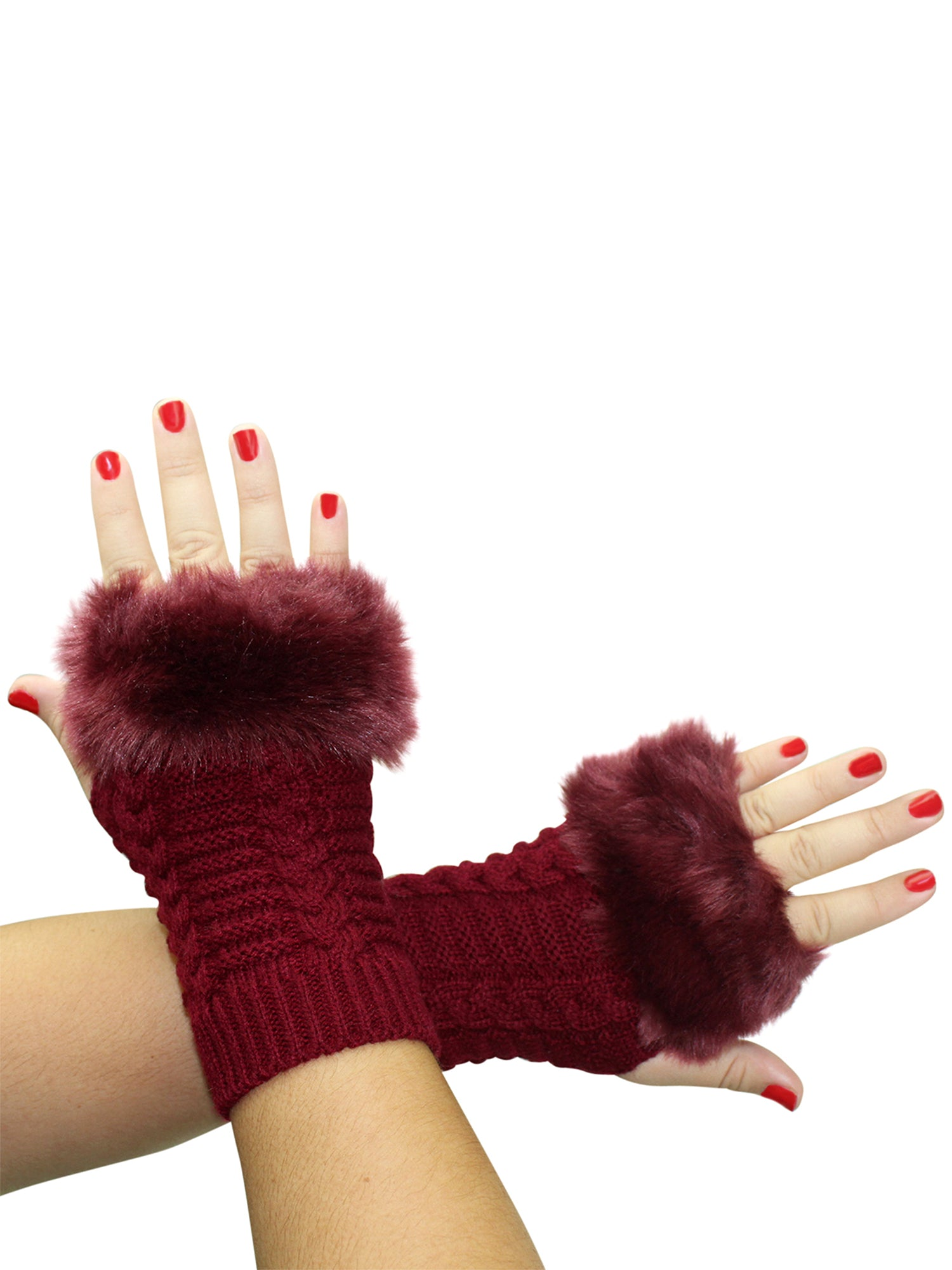 Faux Fur Trim Arm Warmer Fingerless Gloves