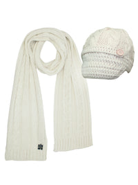 Cable Knit Newsboy Cabbie Hat & Scarf Matching Set
