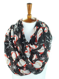 Santa & Snowflakes Christmas Holiday Circle Infinity Scarf