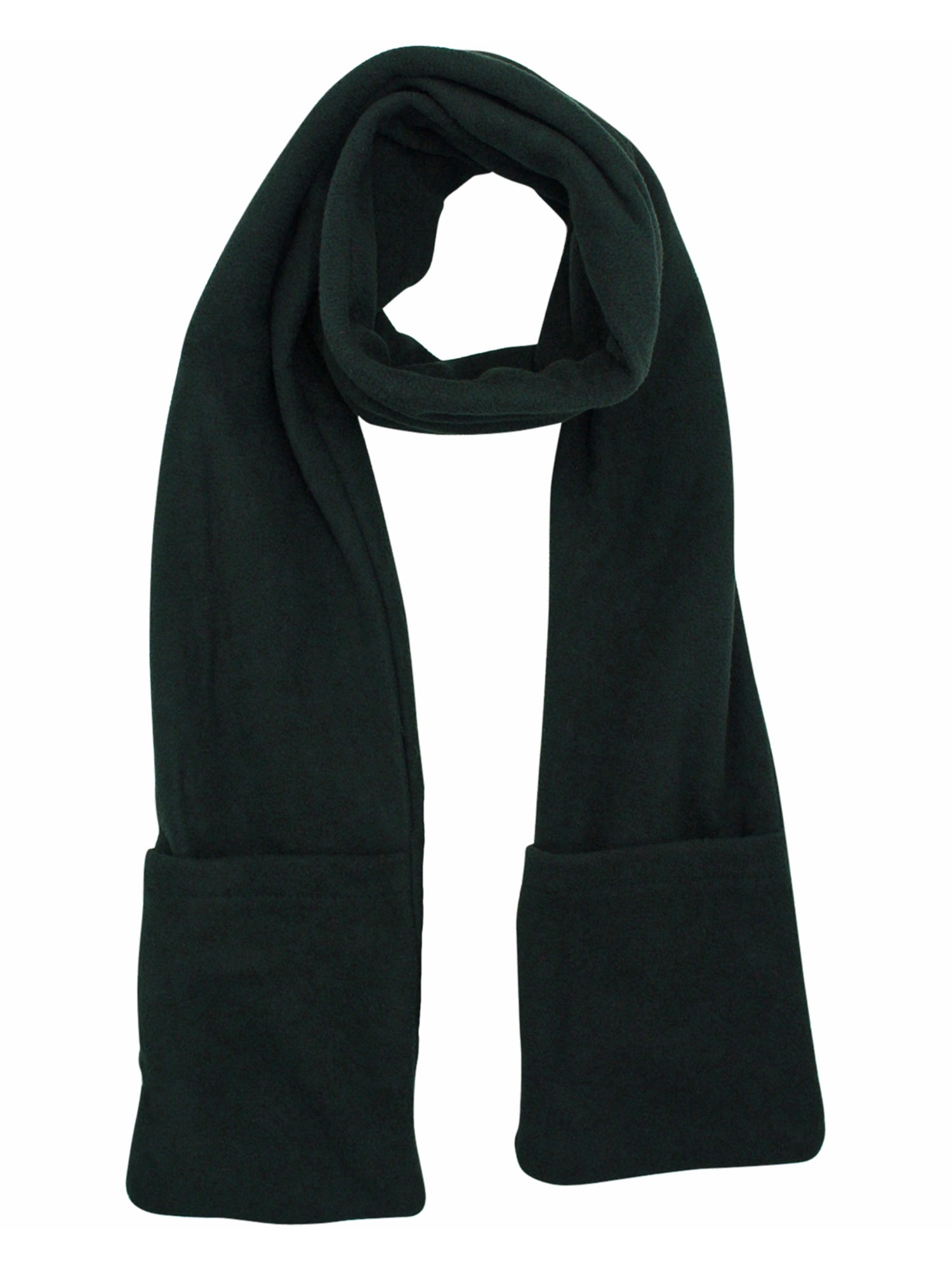 Black Heated Fleece Unisex Winter Scarf With Pockets