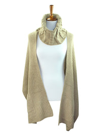 Cable Knit Cowl Scarf Wrap With Pockets